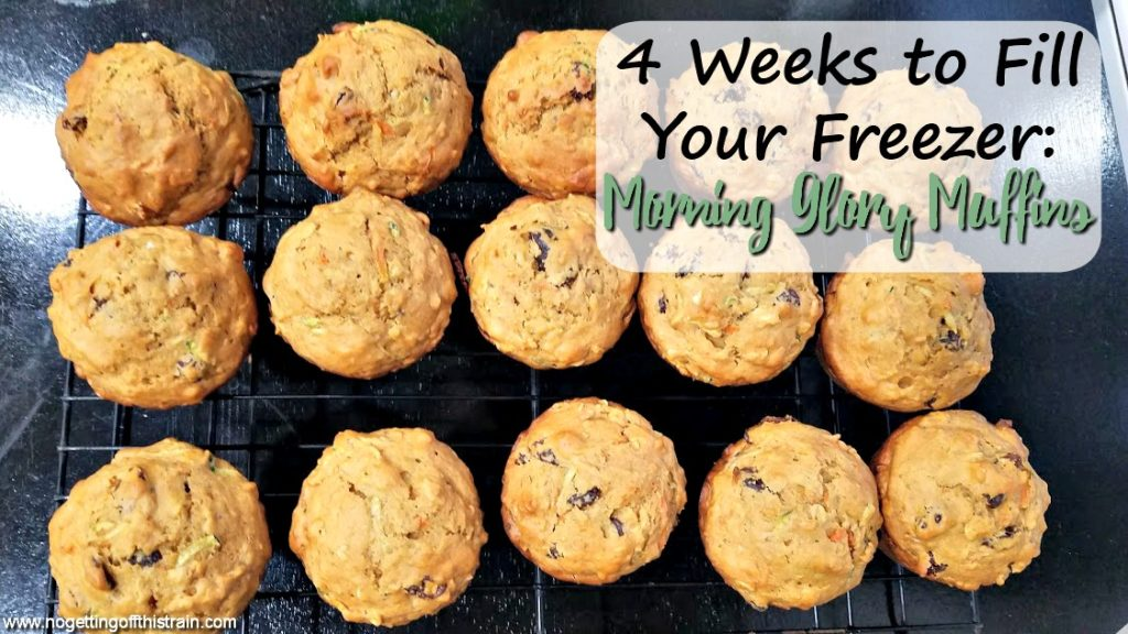 "Image of morning glory muffins on a cooling rack with the title ""4 Weeks to Fill Your Freezer: Morning Glory Muffins"""