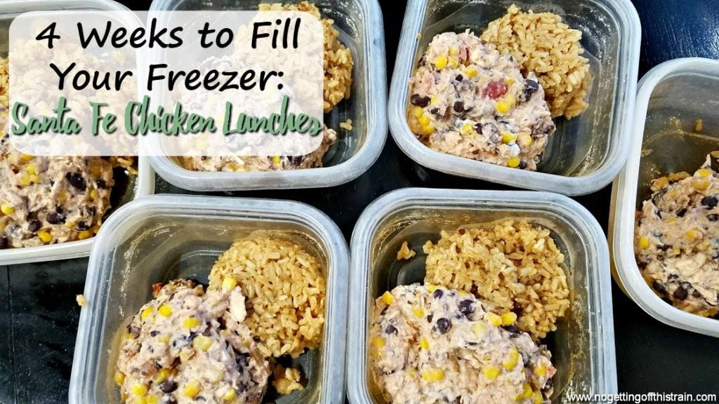 "Image of mexican chicken and rice with the title ""4 Weeks to Fill Your Freezer: Santa Fe Chicken Lunches"""