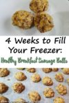"Image of sausage balls on a tray with the title ""4 Weeks to Fill Your Freezer: Healthy Breakfast Sausage Balls"""