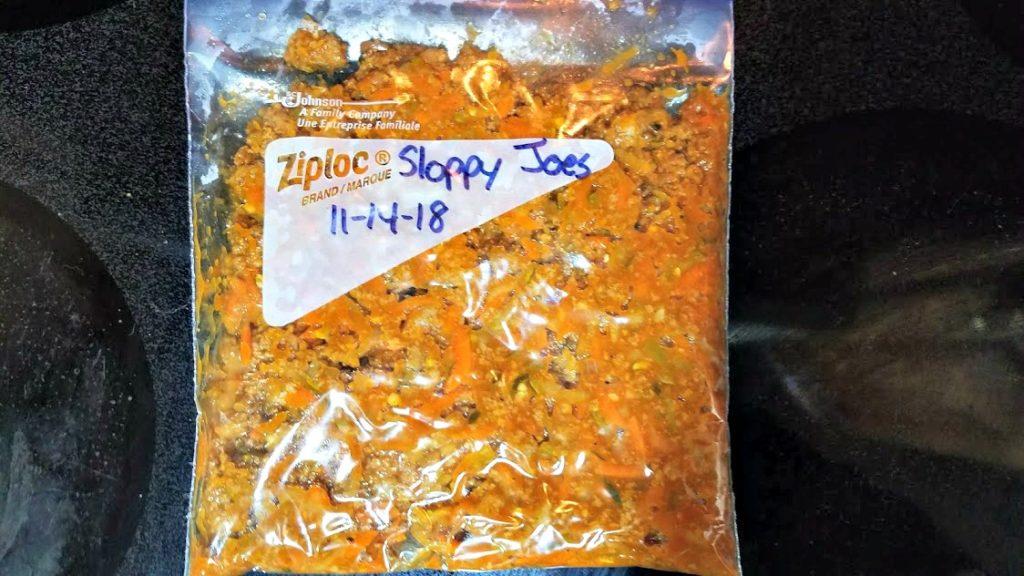Freezer bag filled with sloppy Joe mix