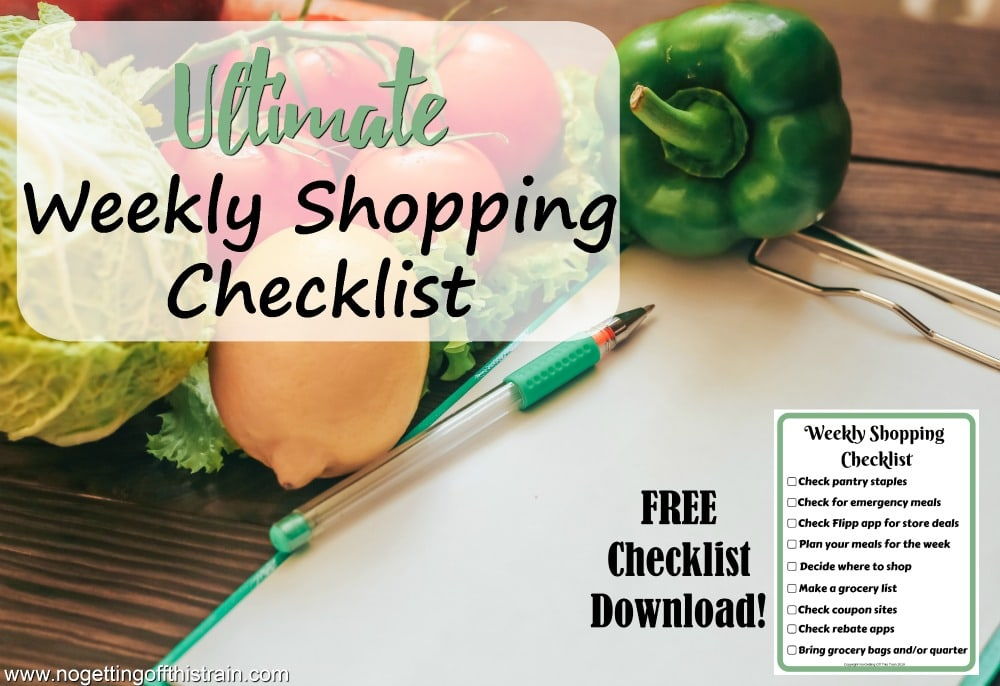 Are you trying to save money while meal planning? Here's my ultimate weekly shopping checklist of things to remember every time!