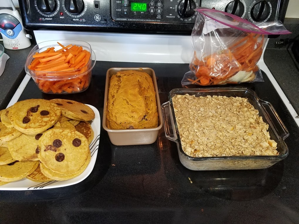 Image of chopped vegetables, pancakes, baked oatmeal, and pumpkin bread