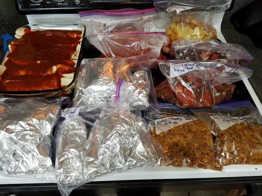 Image of bags filled with freezer meals
