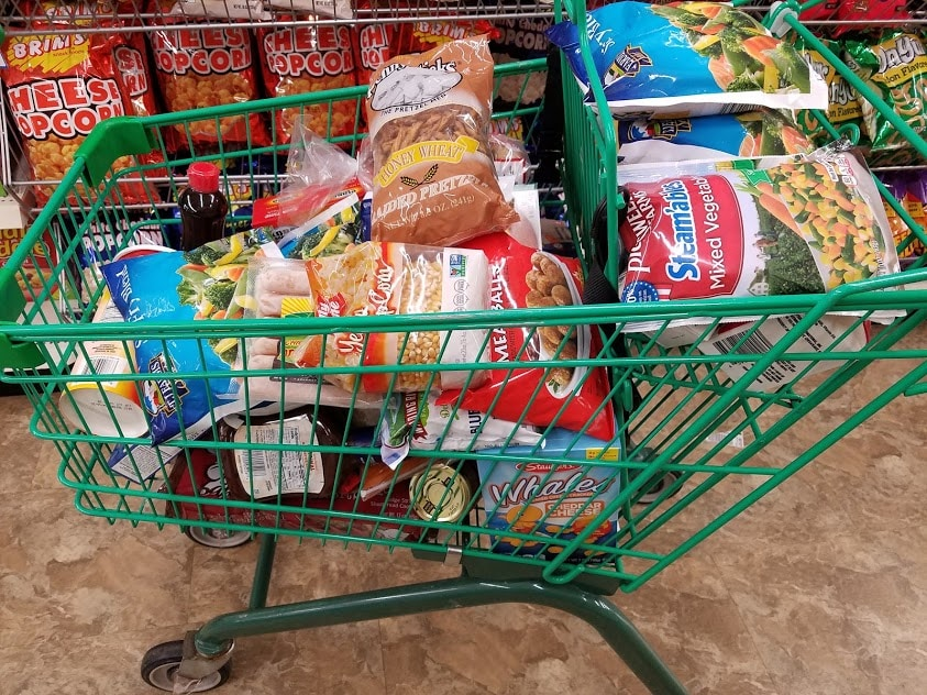 Image of a Dollar Tree shopping cart full of groceries