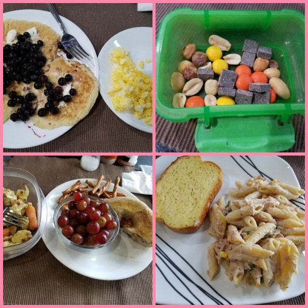 An image collage of pancakes topped with blueberries, trail mix, a peanut butter and jelly bagel with grapes, and a pasta casserole with garlic bread