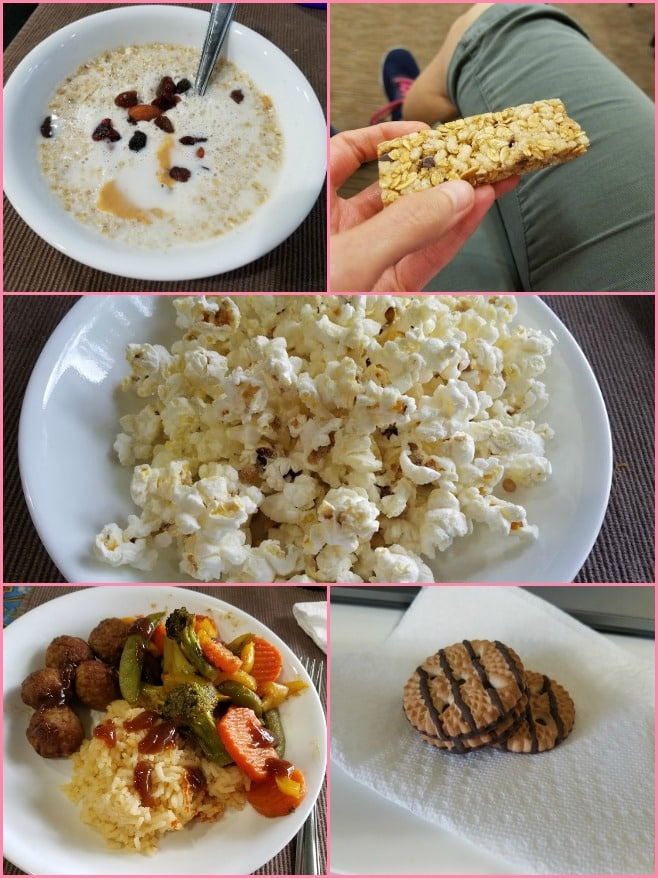 Image collage of a bowl of oatmeal, a granola bar, popcorn, a meatball dinner, and cookies