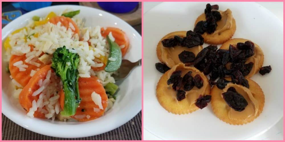 An image collage of stir fry and crackers with peanut butter and craisins