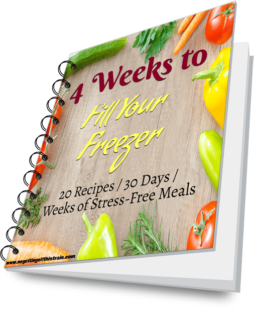 """Image of a digital book with the title """"4 Weeks to Fill Your Freezer"""""""