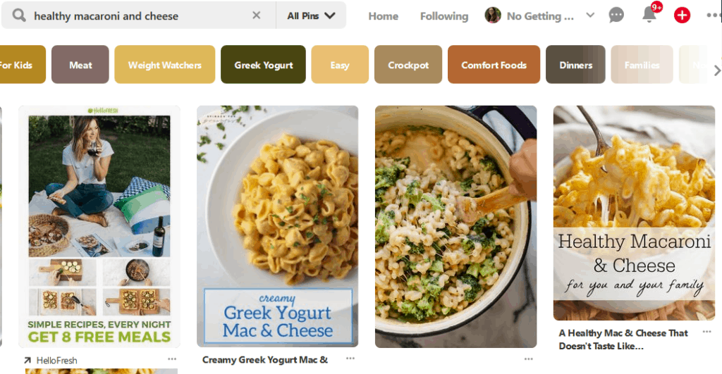 A screenshot of a Pinterest search of macaroni and cheese