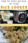 """Image of cooked and uncooked quinoa with the title """"How to Cook Quinoa in Your Rice Cooker"""""""