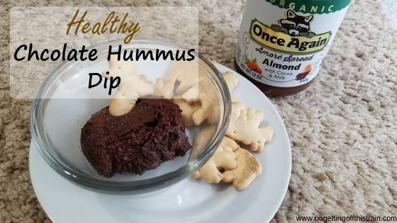 """Image of chocolate hummus with animal crackers with the title """"Healthy chocolate hummus dip"""""""