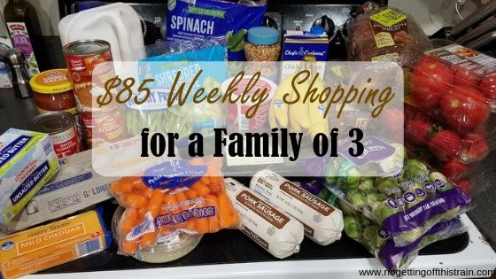 "Image of groceries with the title ""$85 Weekly shopping for a family of 3"""