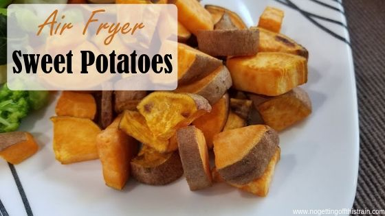 """Image of roasted sweet potatoes with the title """"Air fryer sweet potatoes"""""""
