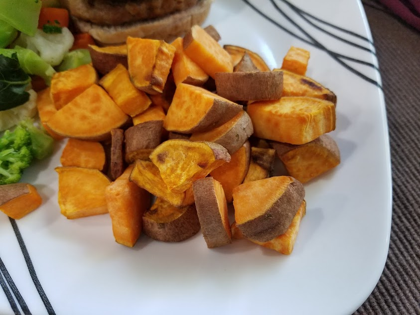 Image of cooked sweet potatoes on a plate
