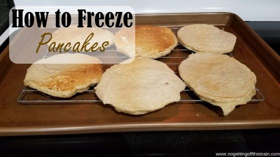 "Image of pancakes on a cooling rack with the title ""How to freeze pancakes"""