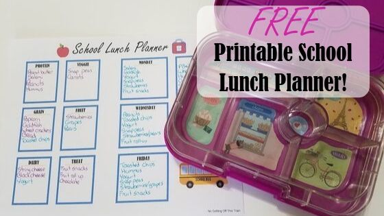 "Image of a paper with a lunch container with the title ""Free printable school lunch planner"""