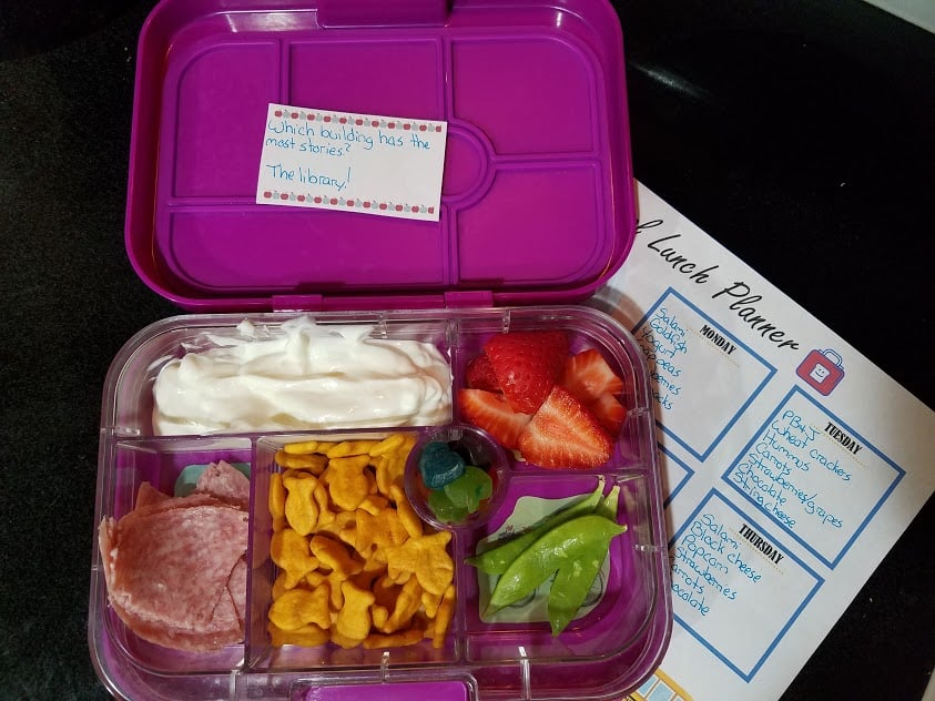 Image of a filled school lunch container
