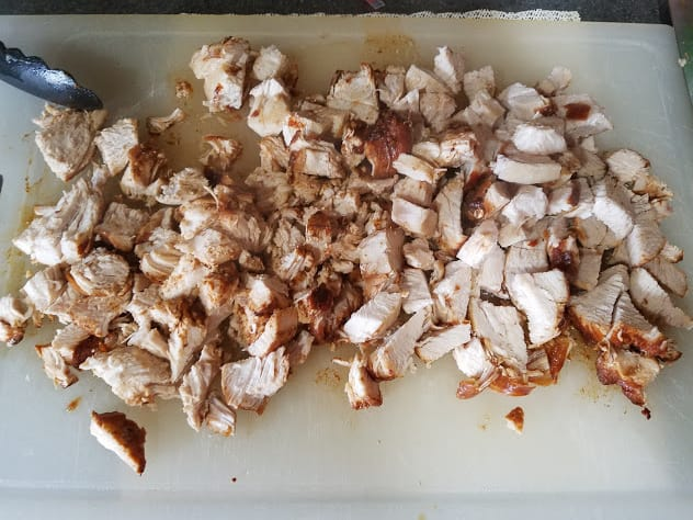 Image of cooked, chopped chicken on a cutting board