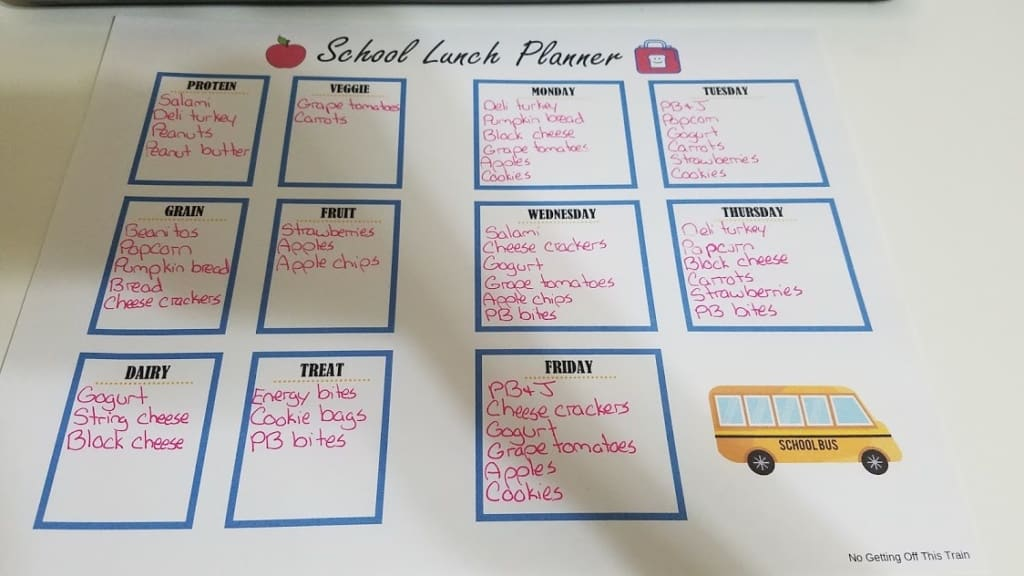 Image of a filled-out school lunch planner