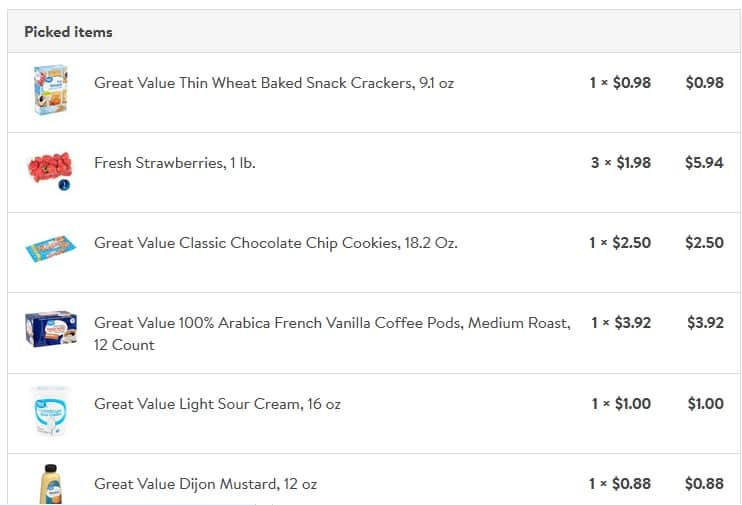 Screenshot of groceries purchased from Wal Mart Grocery Pickup