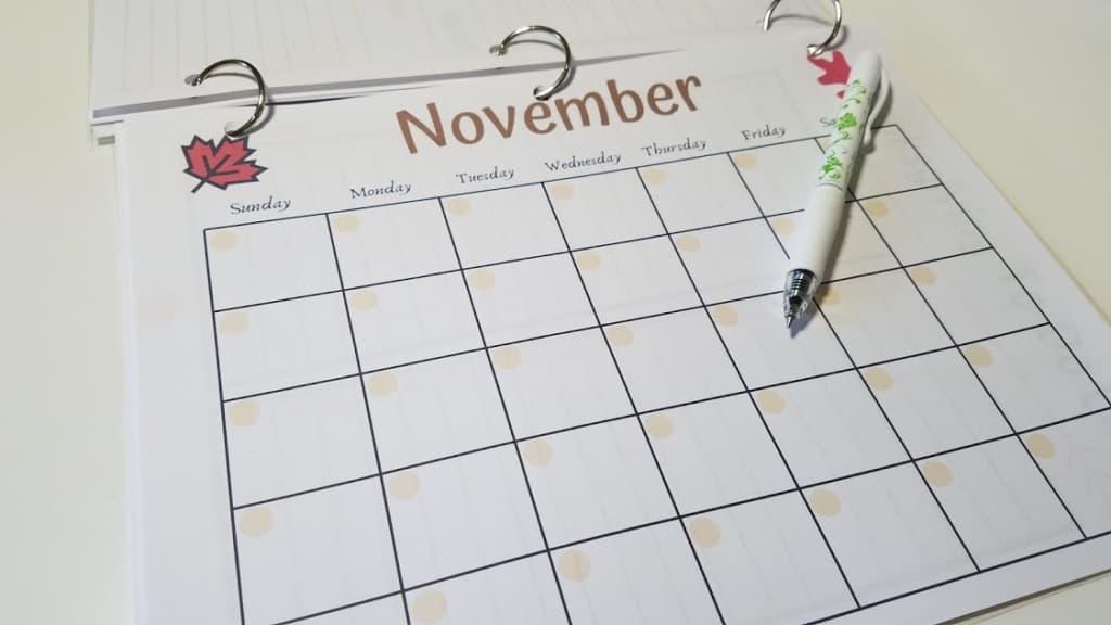 Image of a blank November calendar