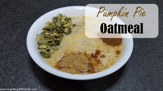 """Image of a bowl with oats and pumpkin seeds titled """"Pumpkin pie oatmeal"""""""