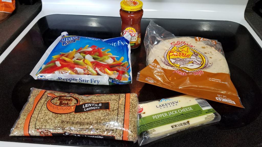 Image of ingredients to make lentil burritos