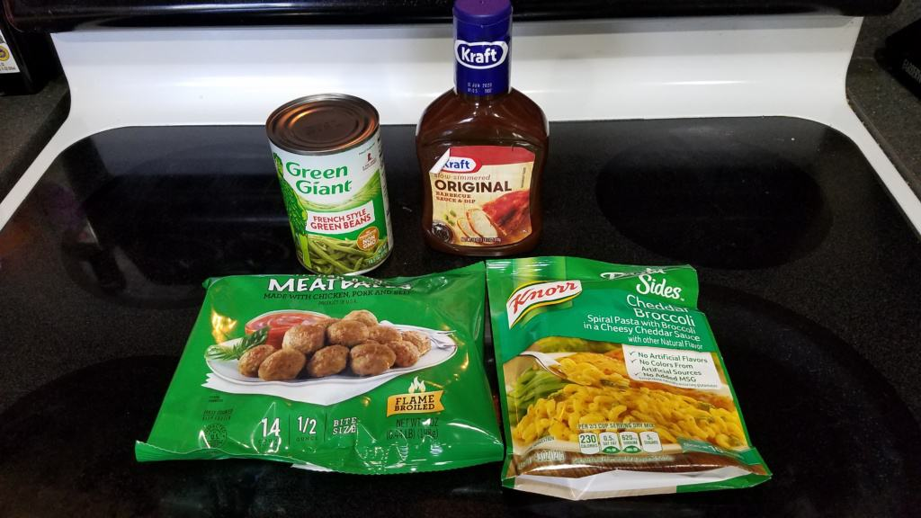 Image of ingredients to make BBQ meatballs