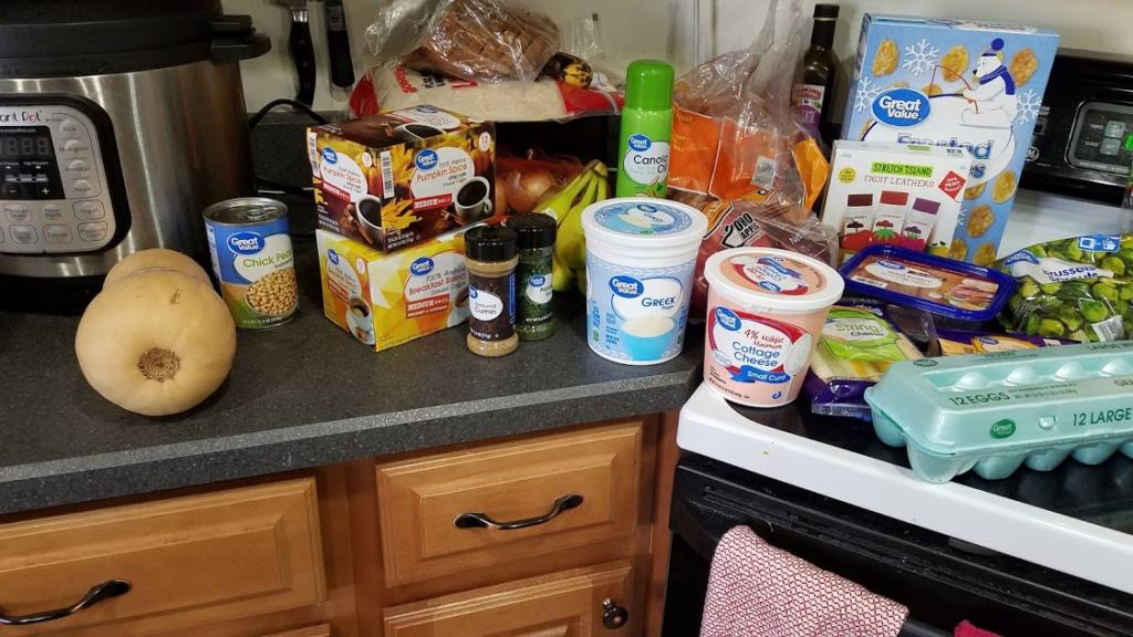 Image of groceries bought at Wal Mart
