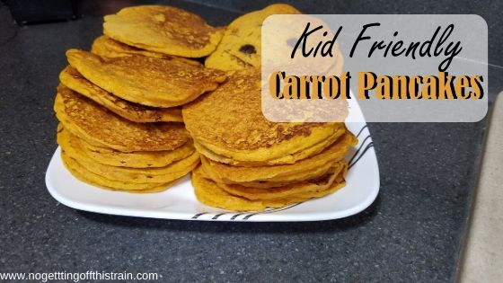 "Image of pancakes with the title ""kid friendly carrot pancakes"""