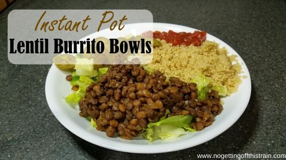 "Image of cooked lentils in a bowl with the title ""Instant Pot Lentil Burrito Bowls"""