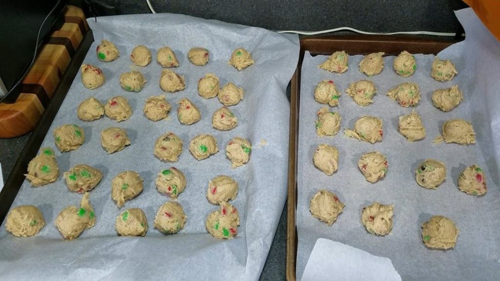 Image of baking sheets filled with cookie dough balls
