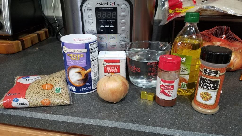 Image of ingredients for lentil burrito bowls