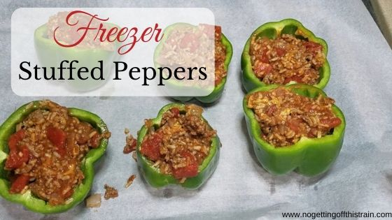 """Image of prepared stuffed peppers with the title """"Freezer stuffed peppers"""""""