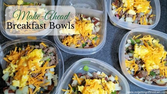 """Image of breakfast bowls with the title """"Make-Ahead breakfast bowls"""""""