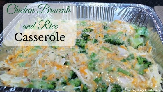 """Image of chicken casserole with the title """"Chicken Broccoli and Rice Casserole"""""""