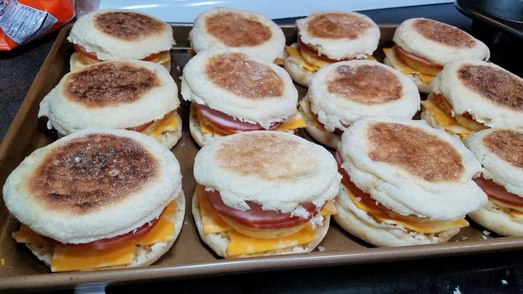 Image of assembled muffin sandwiches