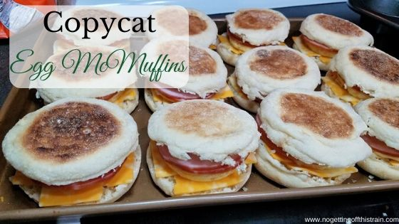 """Image of muffin sandwiches with the title """"Copycat Egg McMuffins"""""""