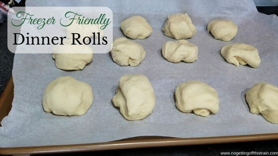 "Image of unbaked dinner rolls with the title ""Freezer Friendly Dinner Rolls"""