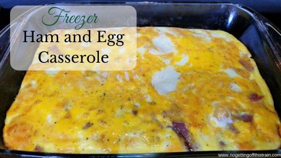 "Image of ham and egg casserole with the title ""Freezer ham and egg casserole"""
