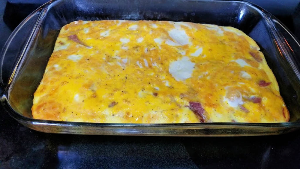 Image of ham and egg casserole in a casserole dish