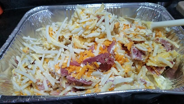 Image of ham and potato casserole in a foil pan
