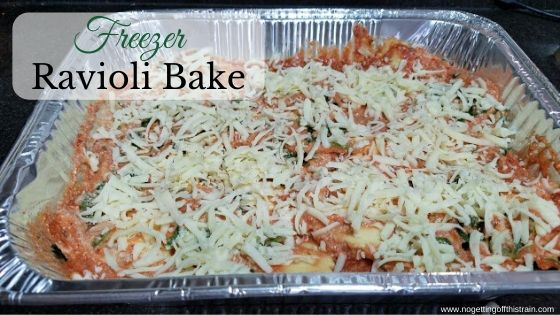 "Image of ravioli bake with the title ""Freezer ravioli bake"""