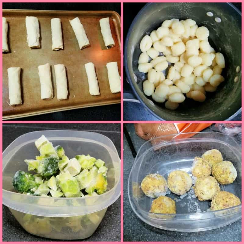 Collage of gnocchi with meatballs and spring rolls