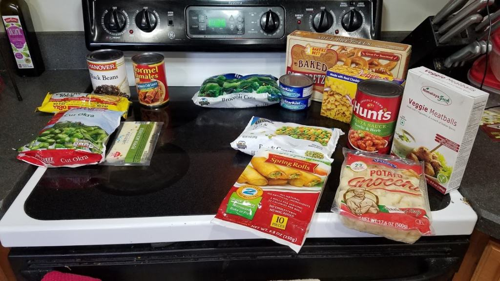 Image of groceries bought at Dollar Tree