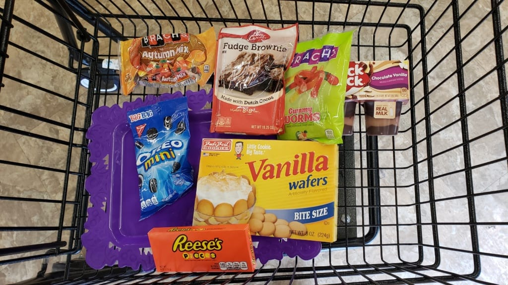 Shopping cart filled with ingredients