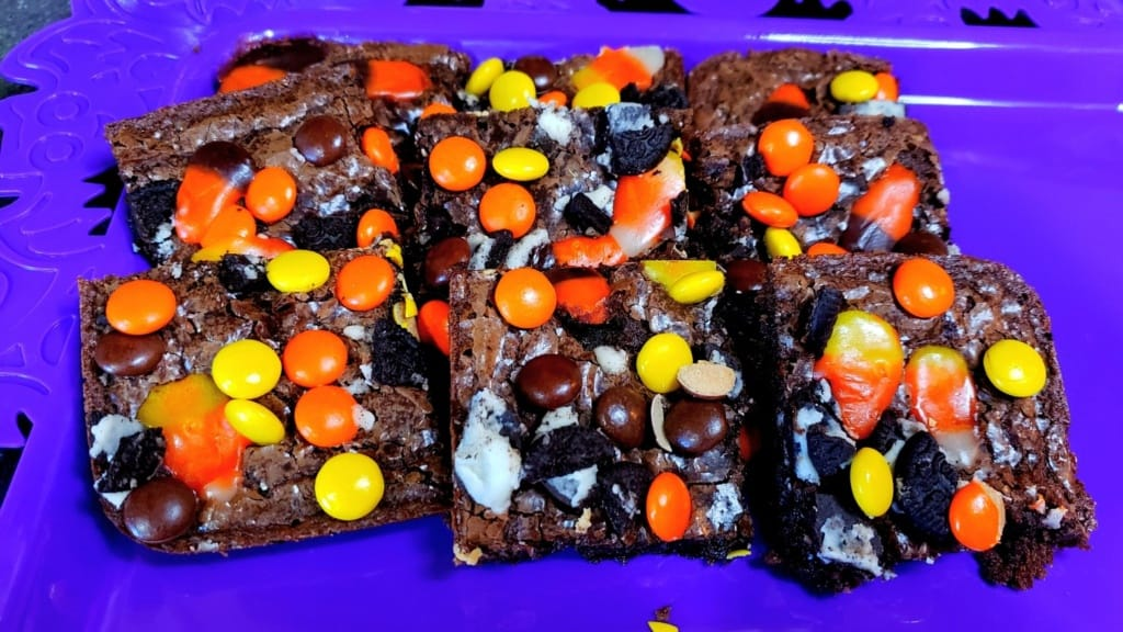 Brownies on a purple tray